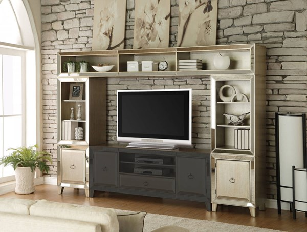 Acme Furniture Voeville Antique Silver Entertainment Center Without TV Stand ACM-91200