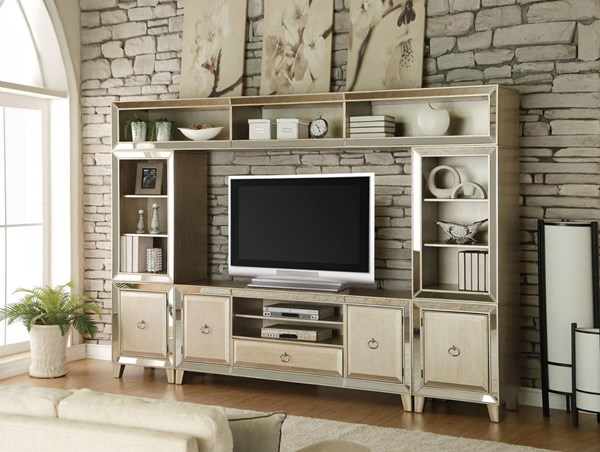 Voeville Contemporary Antique Gold Pine Wood Entertainment Center ACM-9120-ENT