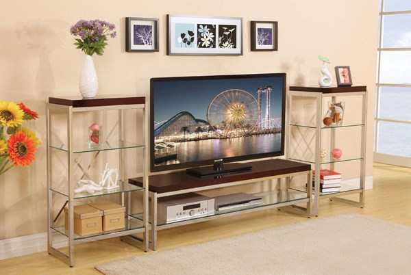 Zahra Chrome Wood Metal Entertainment Center ACM-91260-ENT-S1