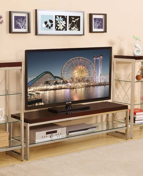 Zahra Chrome Brown Wood Glass Metal TV Stands ACM-91260-ENT-VAR