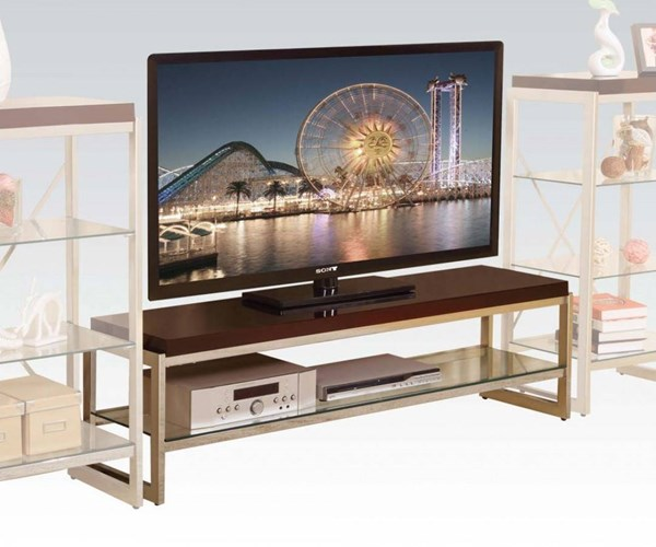 Zahra Chrome Wood Metal TV Stand w/Glass Shelf ACM-91260
