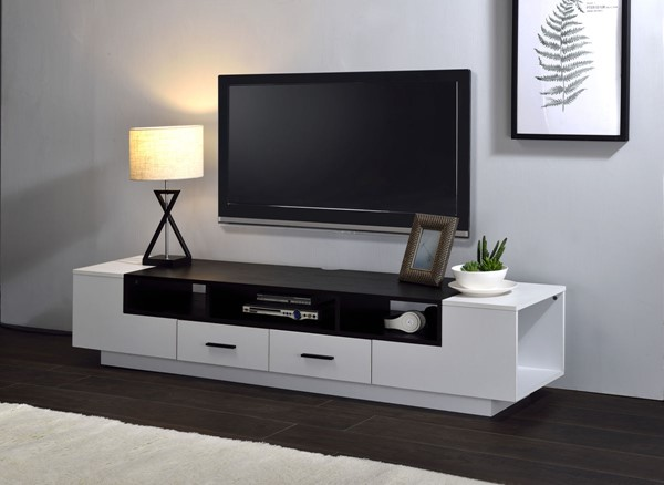 Acme Furniture Armour White Black TV Stand ACM-91275