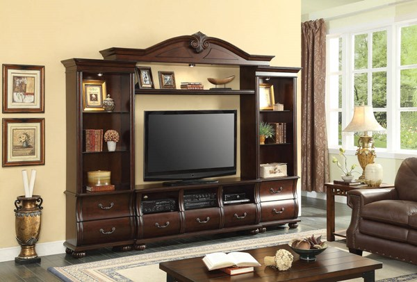 Faysnow Traditional Dark Cherry Wood Drawers Entertainment Center ACM-91290-ENT