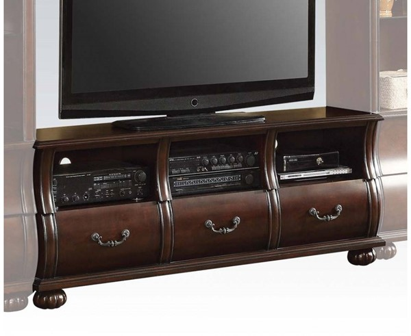 Faysnow Traditional Dark Cherry Wood TV Stand ACM-91293