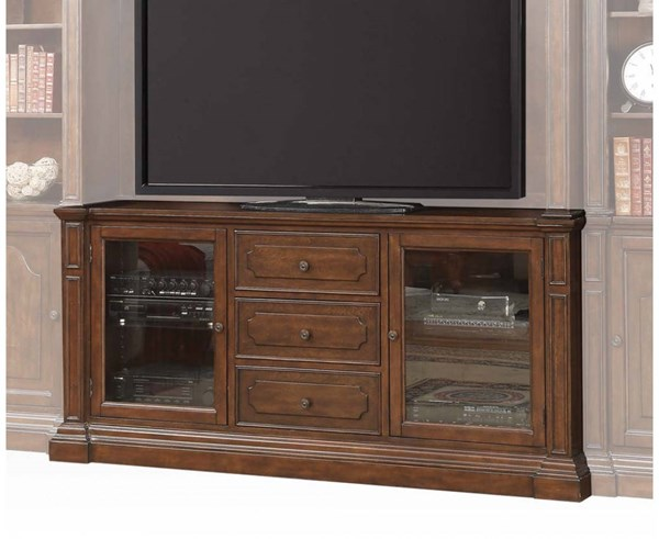 Bycrest Cherry Wood 3 Drawers & 2 Glass Doors TV Stand ACM-91298