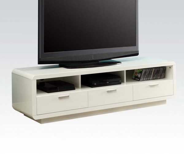 Randell White Wood 3 Drawers TV Stand w/Open Comparments ACM-91300