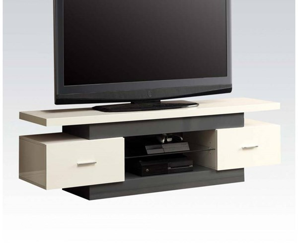 Vicente White Gray Wood Glass 2 Drawers TV Stand ACM-91302