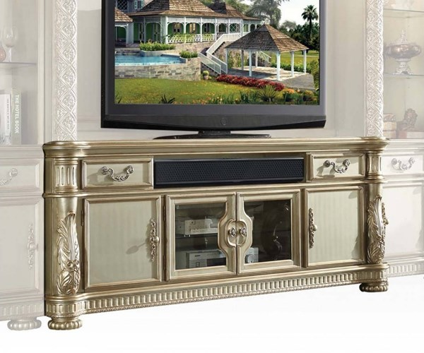Vendome II Classic Gold Patina Bone Wood TV Console ACM-91313
