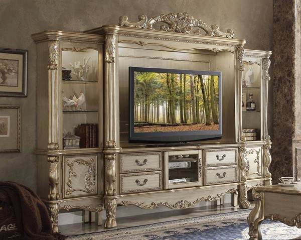 Acme Furniture Dresden Gold Patina Entertainment Center with TV Stand ACM-9133-ENT-S1