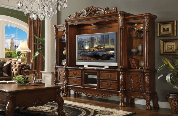 Dresden Traditional Cherry Oak Wood Entertainment Center w/TV Stand ACM-9133-ENT-S2