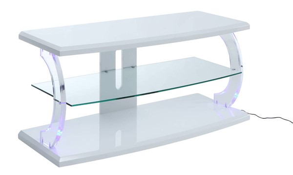 Acme Furniture Aileen White Clear Glass LED TV Stand ACM-91554