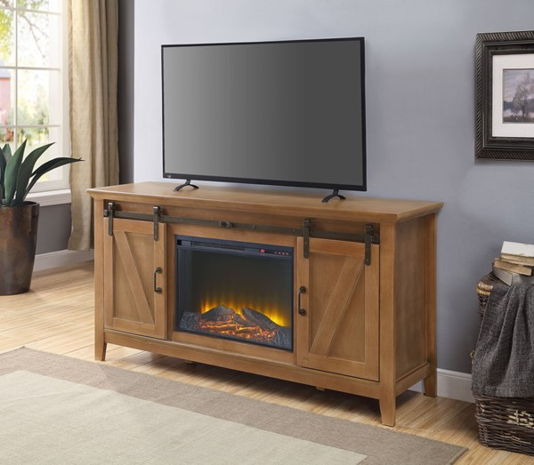 Acme Furniture Afonso Honey Oak TV Stand with Fireplace ACM-91624