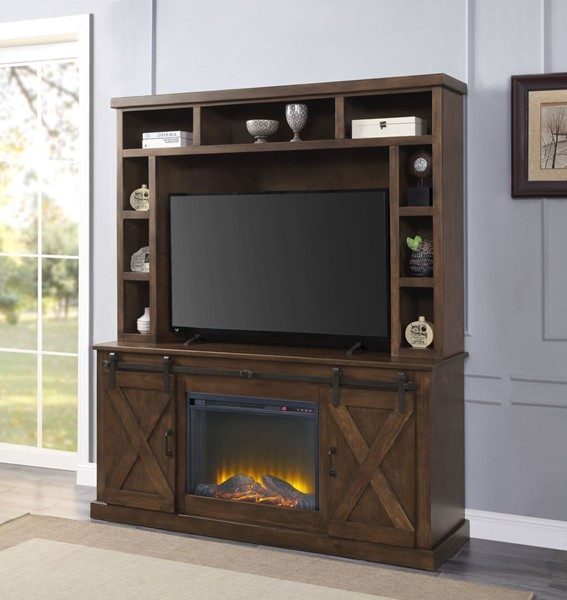 Acme Furniture Aksel Walnut Entertainment Center with Fireplace ACM-91628