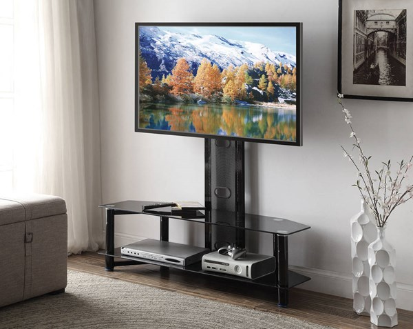 Taijo Black White Metal Glass Flat Panel Mount TV Stands ACM-91715-TV-STD-VAR
