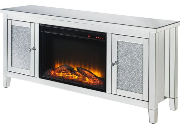 Acme Furniture Noralie Clear TV Stand with Fireplace ACM-91770