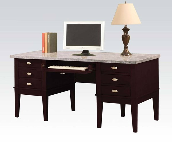 Britney White Marble Wood 6 Drawers Computer Desk ACM-92008
