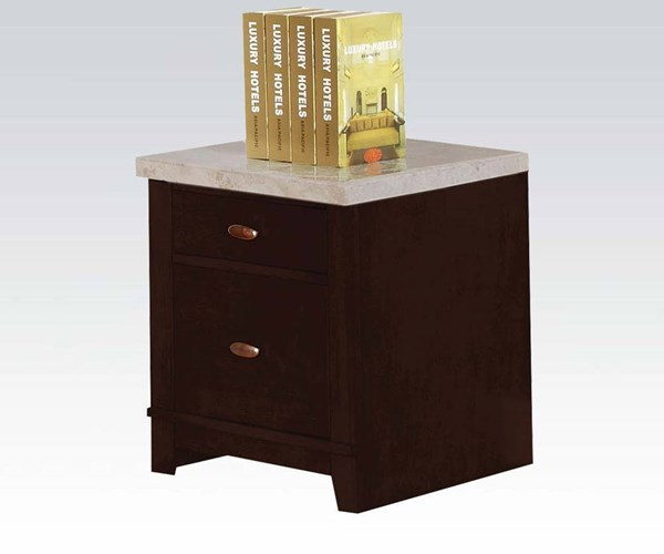 Britney White Marble Top Wood 2 Drawers Cabinet ACM-92010