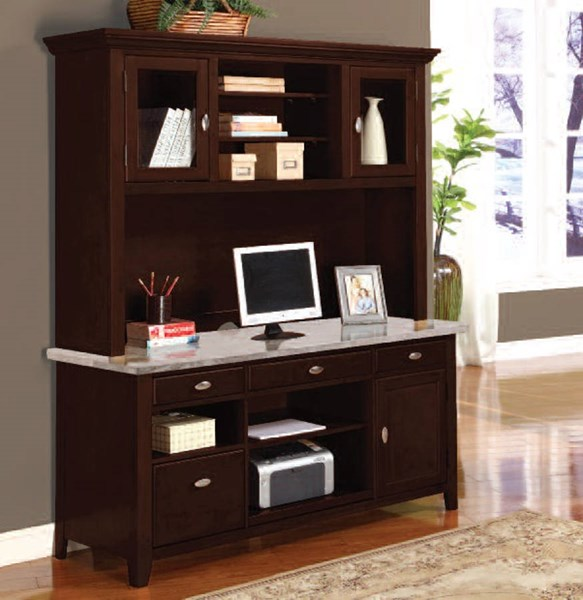 Britney Standard White Marble Top Office 4 Drawers Desk W/Hutch ACM-92012-13