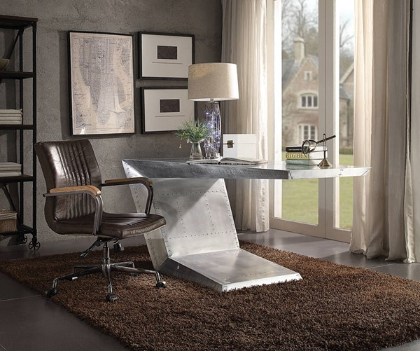 Acme Furniture Brancaster Silver Distress Chocolate Desk And Chair Set ACM-92025-92028-HO-S2