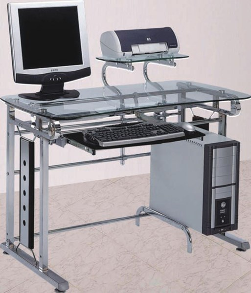 Felix Black Silver Chrome Glass Metal Computer Desk ACM-92040