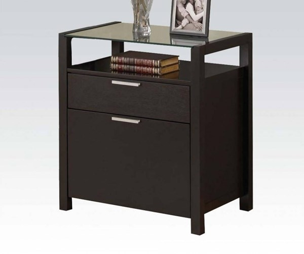 Ioakim Wenge Wood Tempered Glass File Cabinet ACM-92054