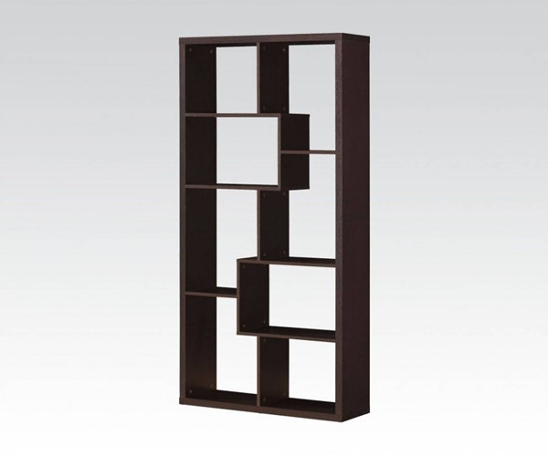 Mileta Cappuccino Wood Tall Bookcase w/Multiple Shelves ACM-92089