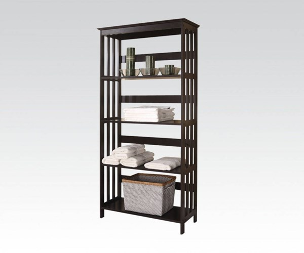 Opeli Espresso Wood Multiple Tiers Shelf Rack ACM-92099