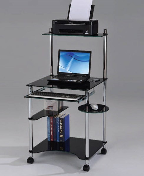 Dexter Black Chrome Glass Metal Computer Desk ACM-92135