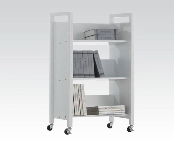 Berton White Wood Bookshelf Cart w/Casters ACM-92139