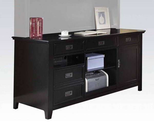 Pandora Modern Black Poplar Wood MDF Office Desk w/Hutch ACM-92262-64