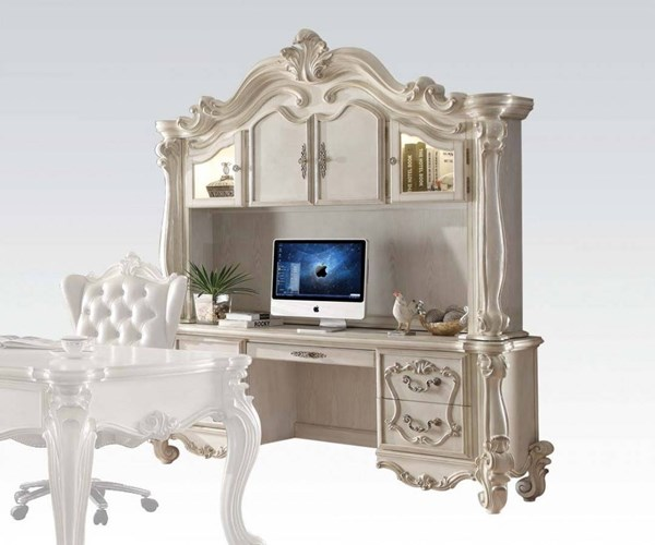 Versailles White Charry Oak Wood Computer Desks & Hutch ACM-922-OD-VAR1