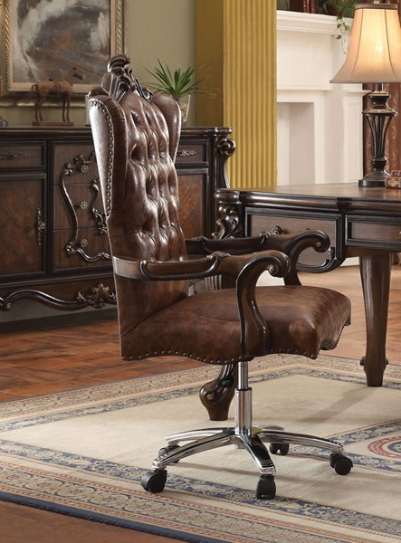 Acme Furniture Versailles Light Brown Swivel and Lift Executive Chair ACM-92282