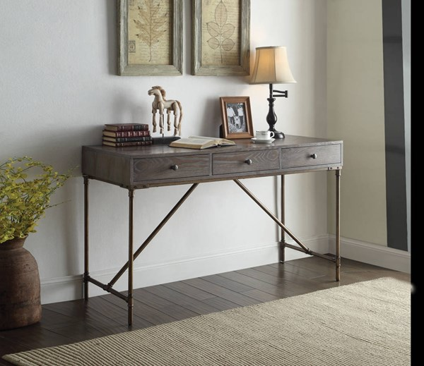 Glora Dark Oak Antique Bronze Ash MDF Desk ACM-92304