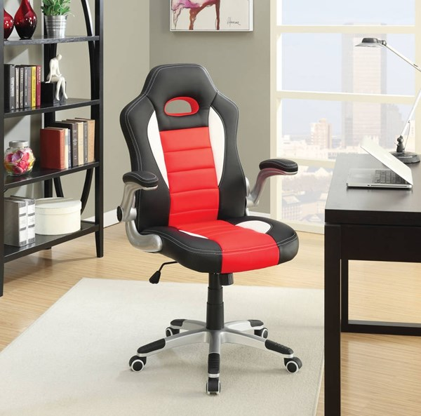 Nolen Black Red PU Office Chair ACM-92306