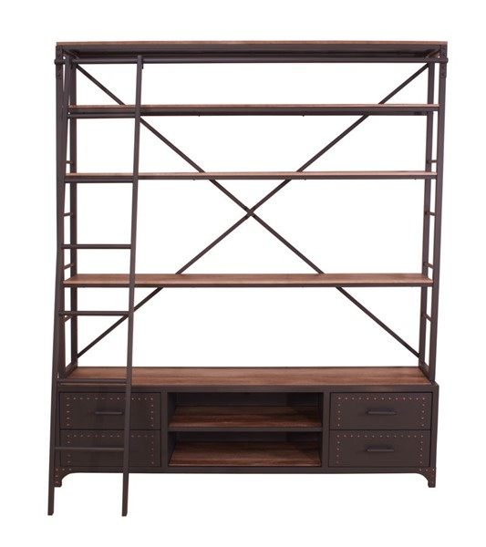 Acme Furniture Actaki Metal Bookshelf and Ladder ACM-92433