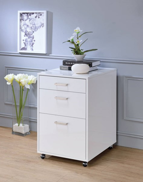 Acme Furniture Coleen White High Gloss Chrome File Cabinet ACM-92454