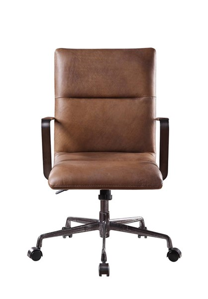 Acme Furniture Indra Chocolate Leather Metal Wood Executive Office Chairs ACM-9256-OCH-VAR