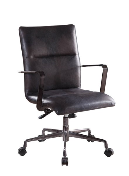 Acme Furniture Indra Black Leather Metal Wood Executive Office Chair ACM-92569