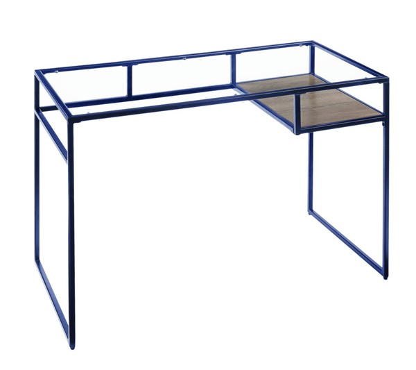 Acme Furniture Yasin Blue Metal Glass Desk ACM-92586