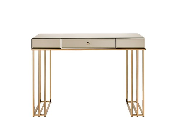 Acme Furniture Critter Smoky Mirroed Champagne Writing Desk ACM-92981