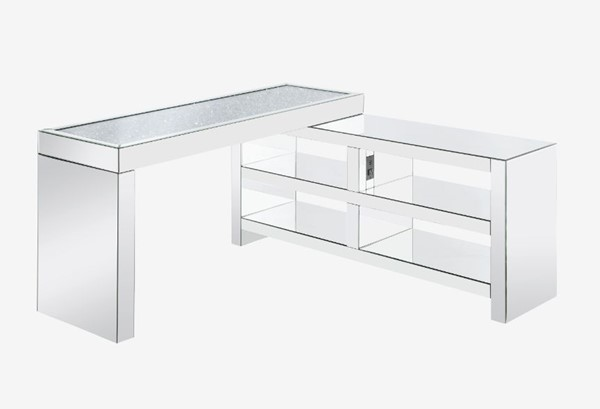 Acme Furniture Noralie Clear Built In USB Port Writing Desk ACM-93110