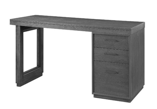 Acme Furniture Weisro Gray Oak Sled Base Writing Desk with Cabinet ACM-93157