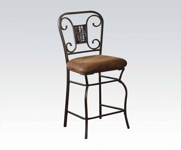 2 Tavio Bronze Fabric Metal Counter Height Chairs ACM-96060