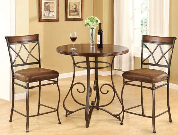 Tavio Walnut Bronze Metal Wood Fabric 3pc Counter Height / Bar Set ACM-96064-70227-BAR-S