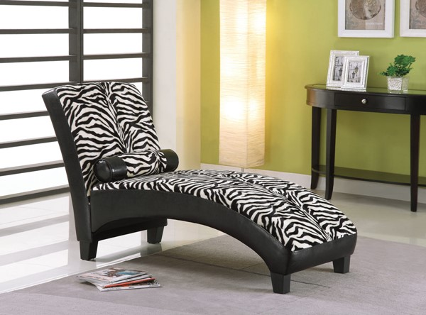Acme Furniture Anna Black PU Chaise with Pillow ACM-96139