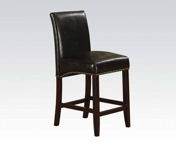 2 Jakki Black PU Wood Solid Back Counter Height Chairs ACM-96169