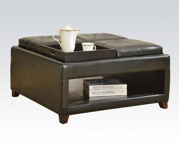 Gosse Dark Brown PU Wood PU Oversized Ottoman w/4 Trays ACM-96173