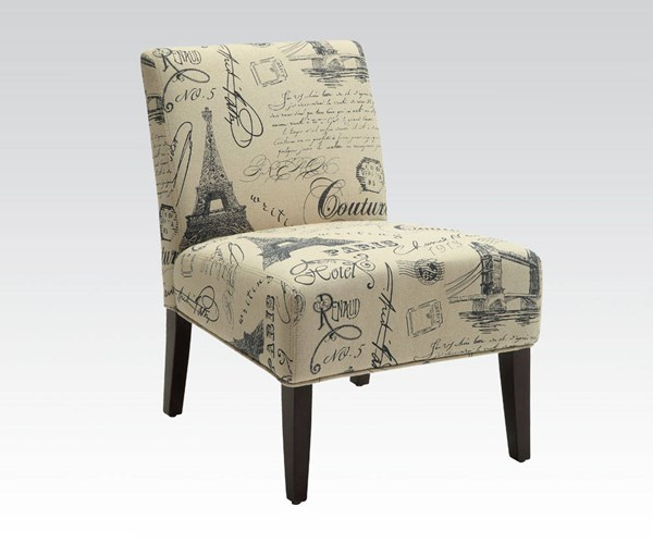 Reece Espresso Wood Fabric Armless Cushion Back Accent Chair ACM-96225