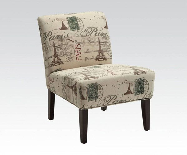 Reece Espresso Fabric Wood Armless Accent Chair ACM-96227