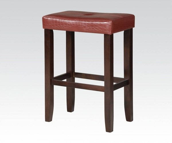 2 Hogan Red Espresso Wood PU Armless & Backless Counter Height Stools ACM-96235